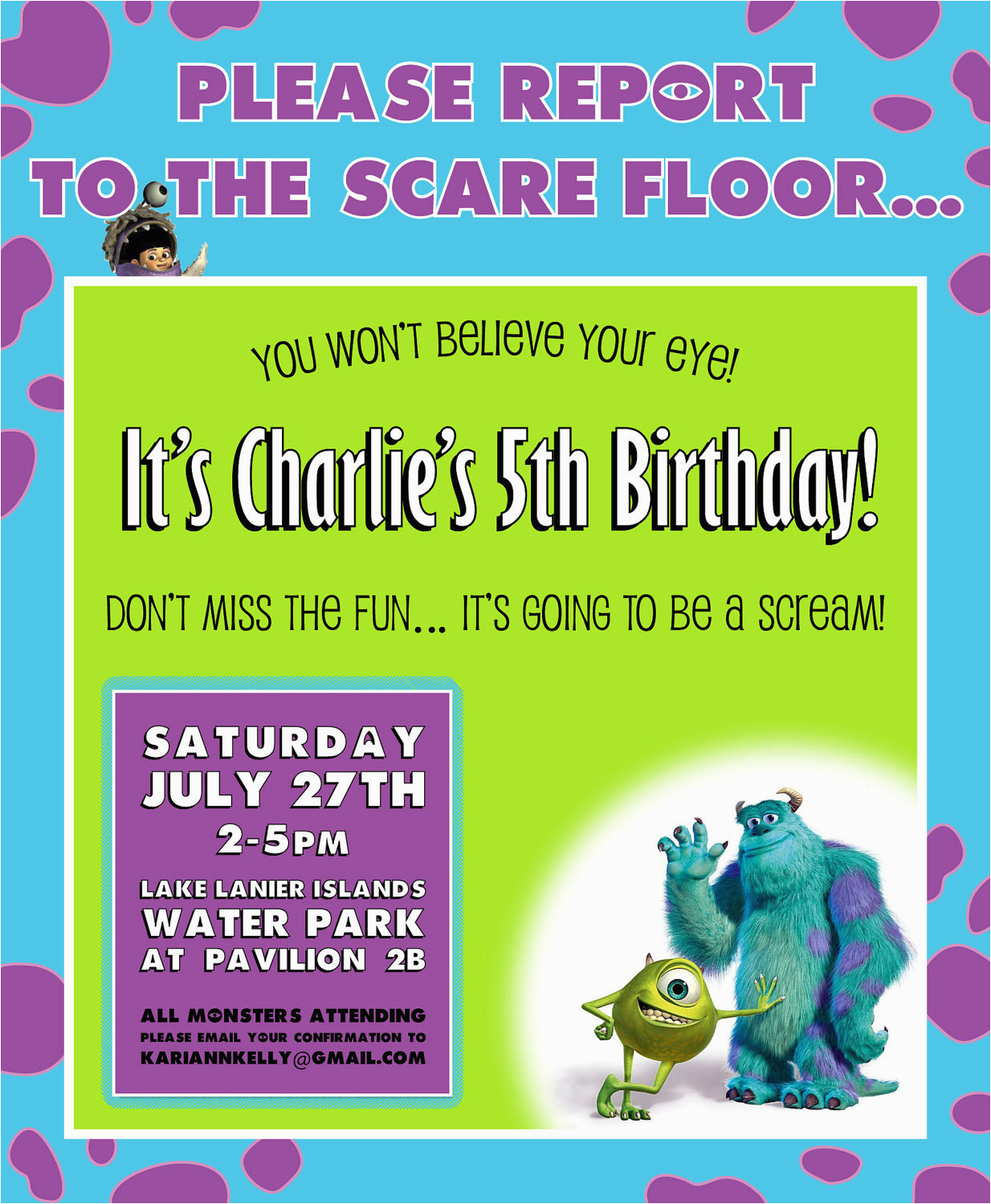 monsters inc birthday invitation design