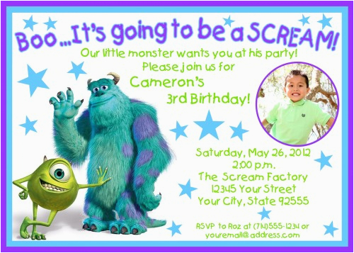 monsters inc birthday invitations