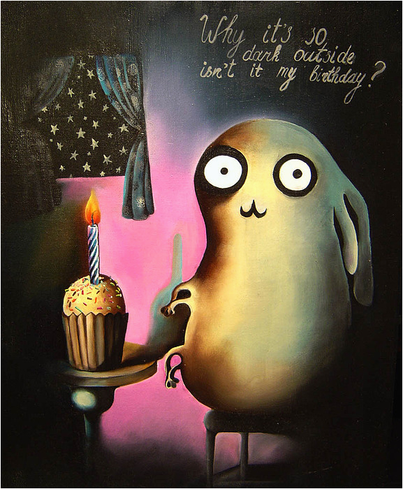 why its so dark outside isnt it my birthday anastassia neislotova greeting card