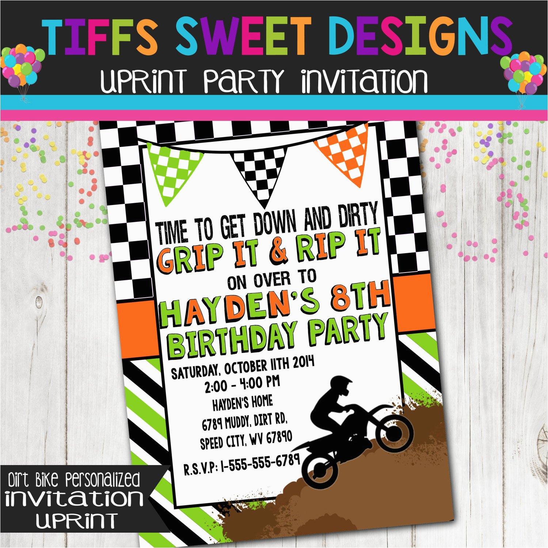 Motocross Birthday Party Invitations Boy Dirt Bike Invitation Dirtbike Printable