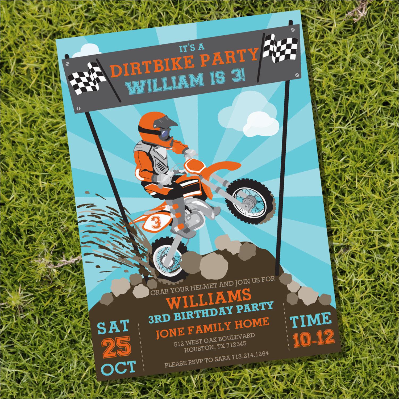 Motocross Birthday Party Invitations Dirt Bike Party Invitation Motorbike Party Motocross Party