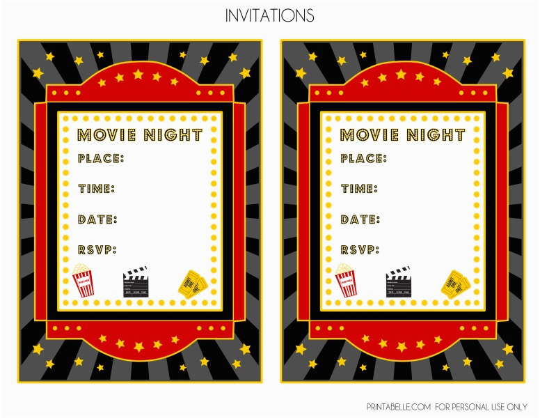 Movie Night Birthday Invitations Free Printable Free Movie Night Party Printables by Printabelle Catch