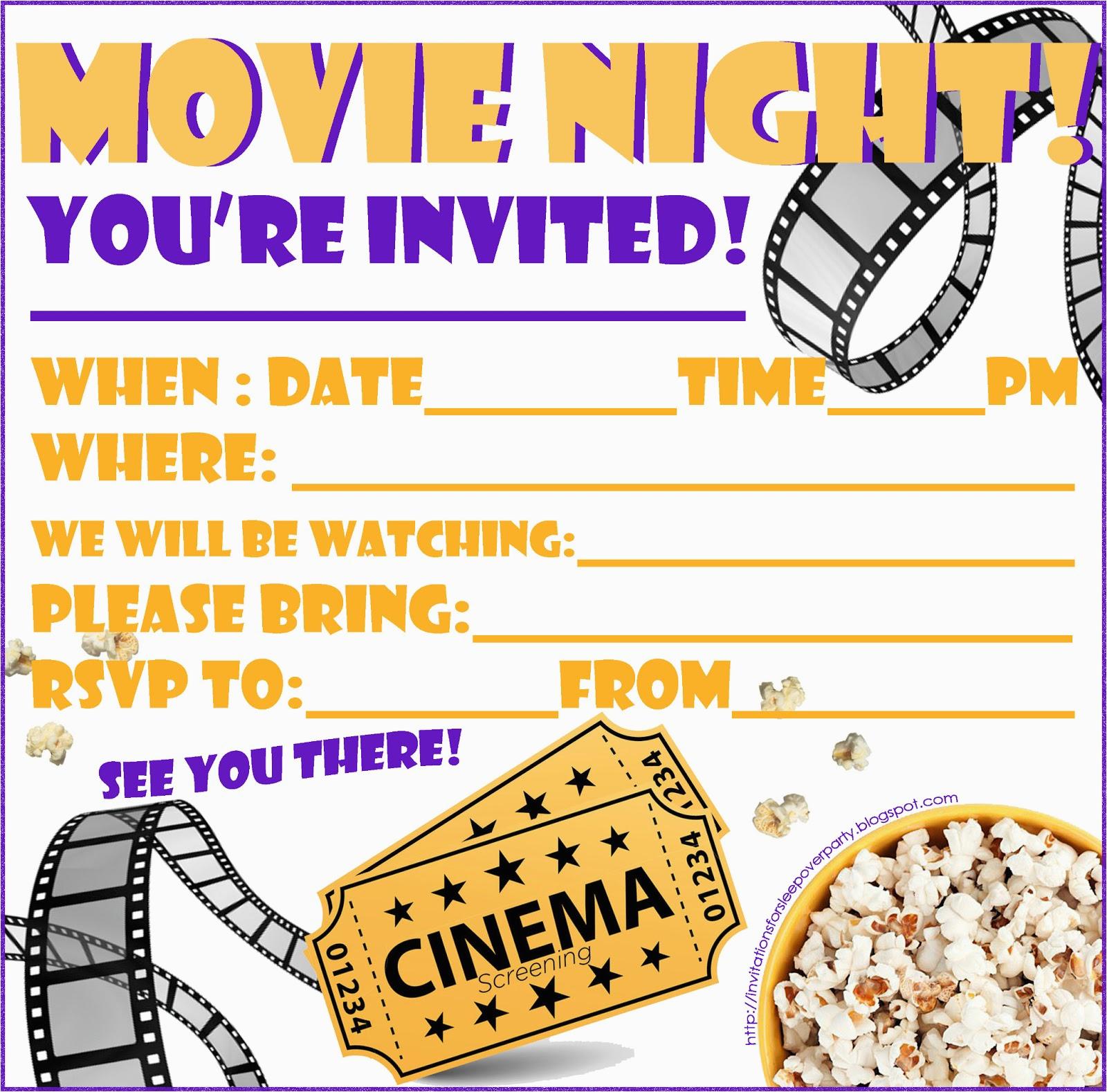 Movie Night Birthday Invitations Free Printable Invitations for Sleepover Party