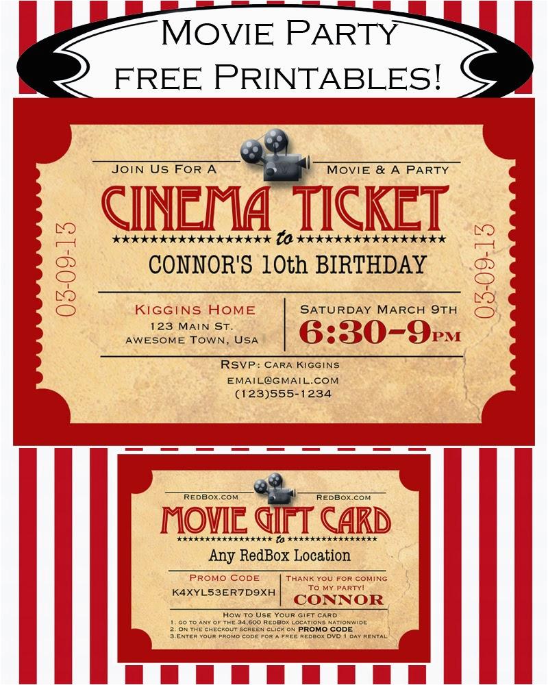 Movie Night Birthday Invitations Free Printable Like Mom And Apple Pie A Summer Of Movies
