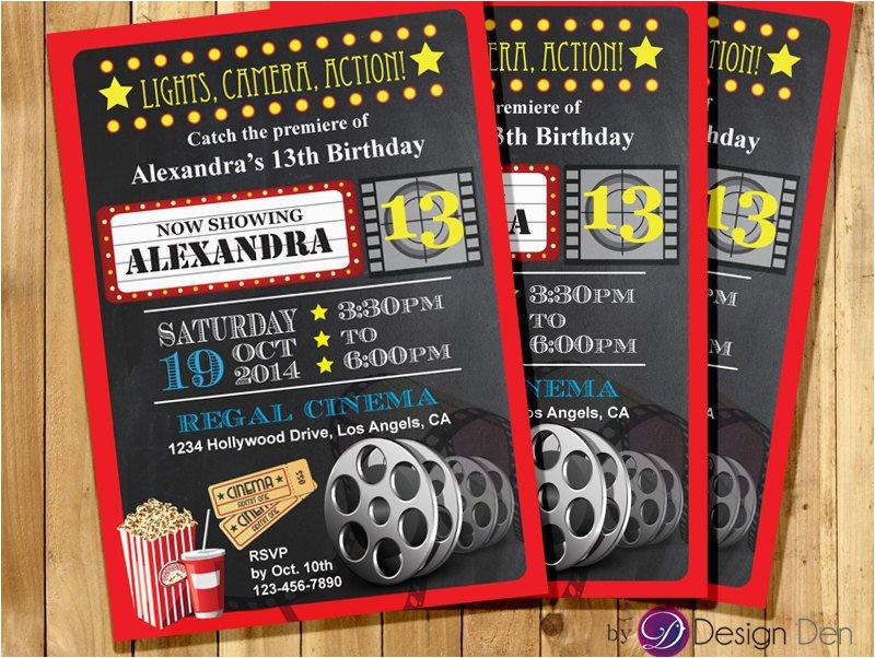 Movie theater Birthday Invitations Custom Movie Cinema theater Birthday Party Invitations Kids