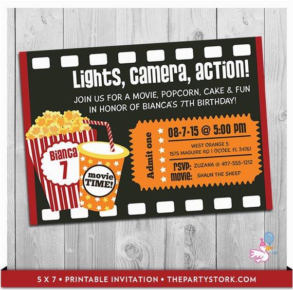 movie party invitation printable boys girls