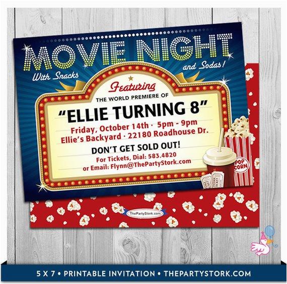 Movie theater Birthday Invitations Movie Party Invitations Printable Movie Invite