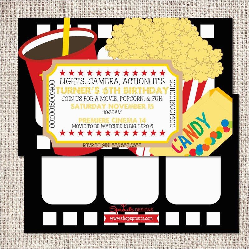 Movie theater Birthday Invitations Movie theater Birthday Invitation