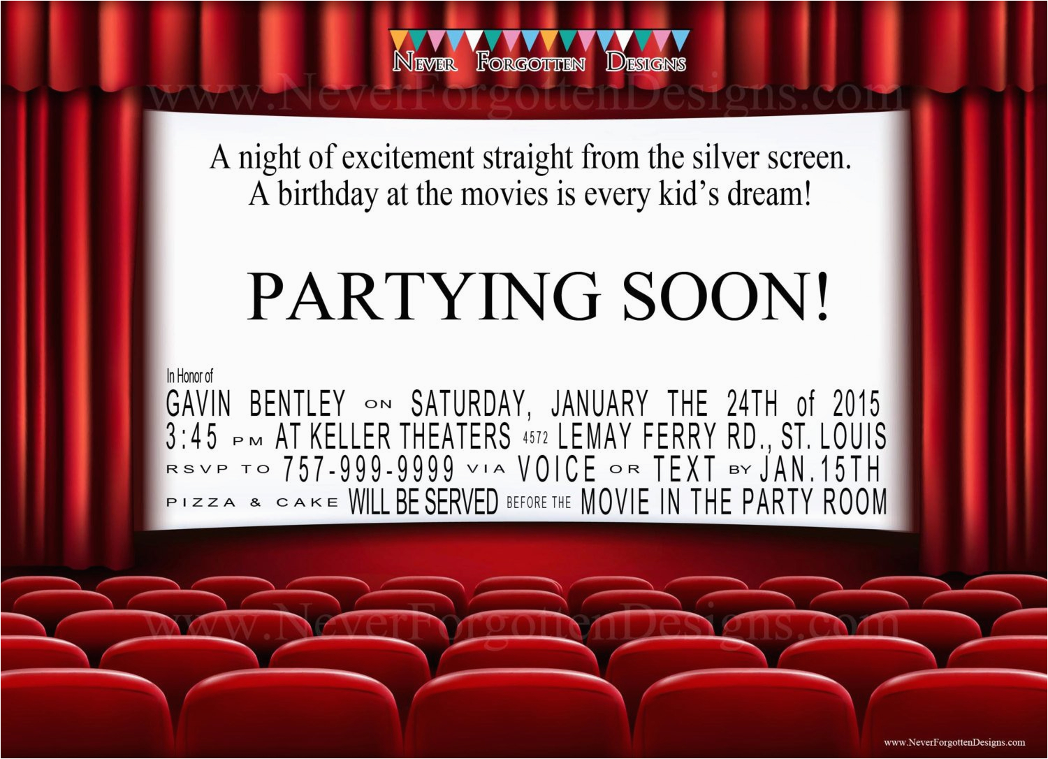 movie theater birthday party invitations