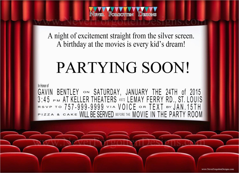 Movie theater Birthday Invitations Movie theater Birthday Party Invitations for A Night at the