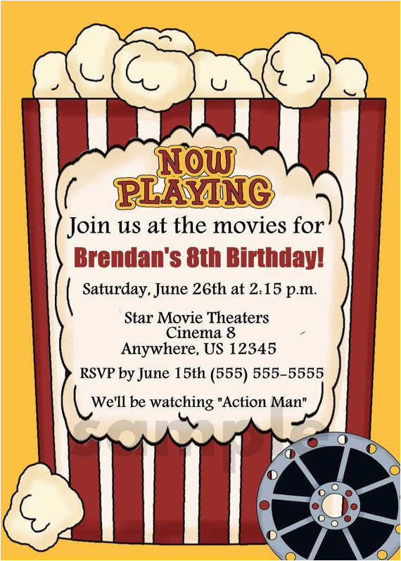 Movie theater Birthday Invitations Popcorn Movie theater Kids Birthday Invitation You Print