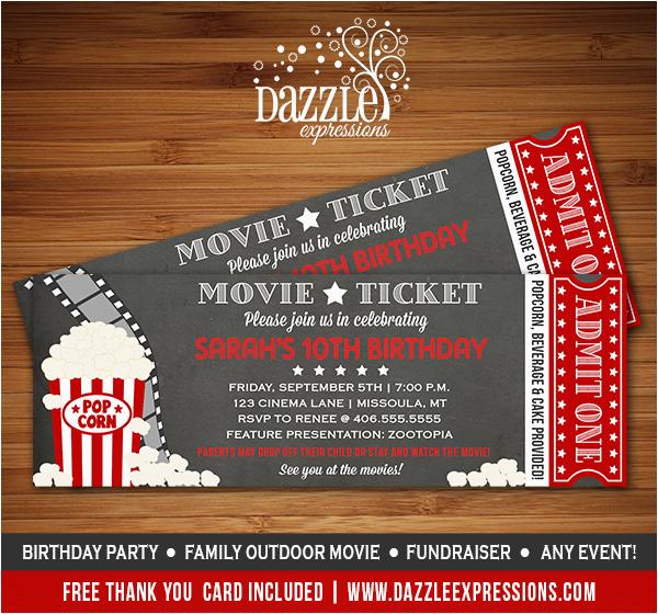 Movie theater Birthday Invitations Printable Chalkboard Movie Night Ticket Birthday