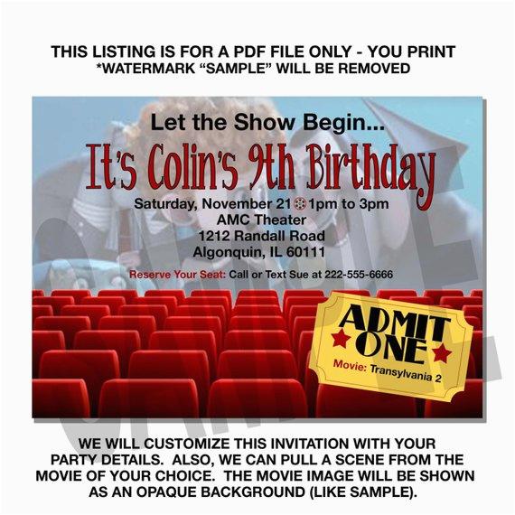 Movie Theatre Birthday Invitations Theater Invitation Themed