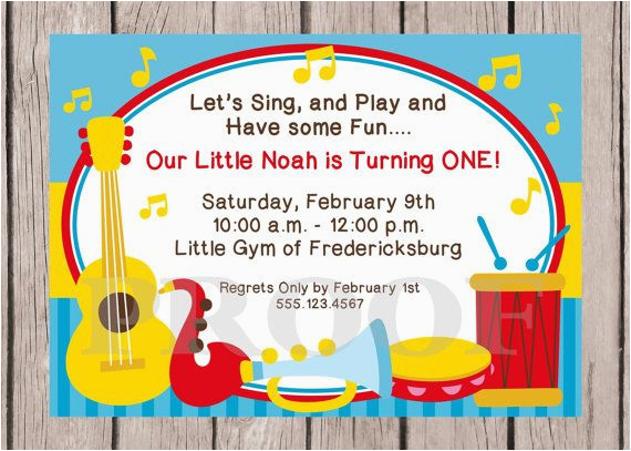 music themed birthday party invitations