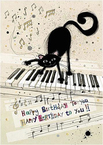 musical cat birthday card