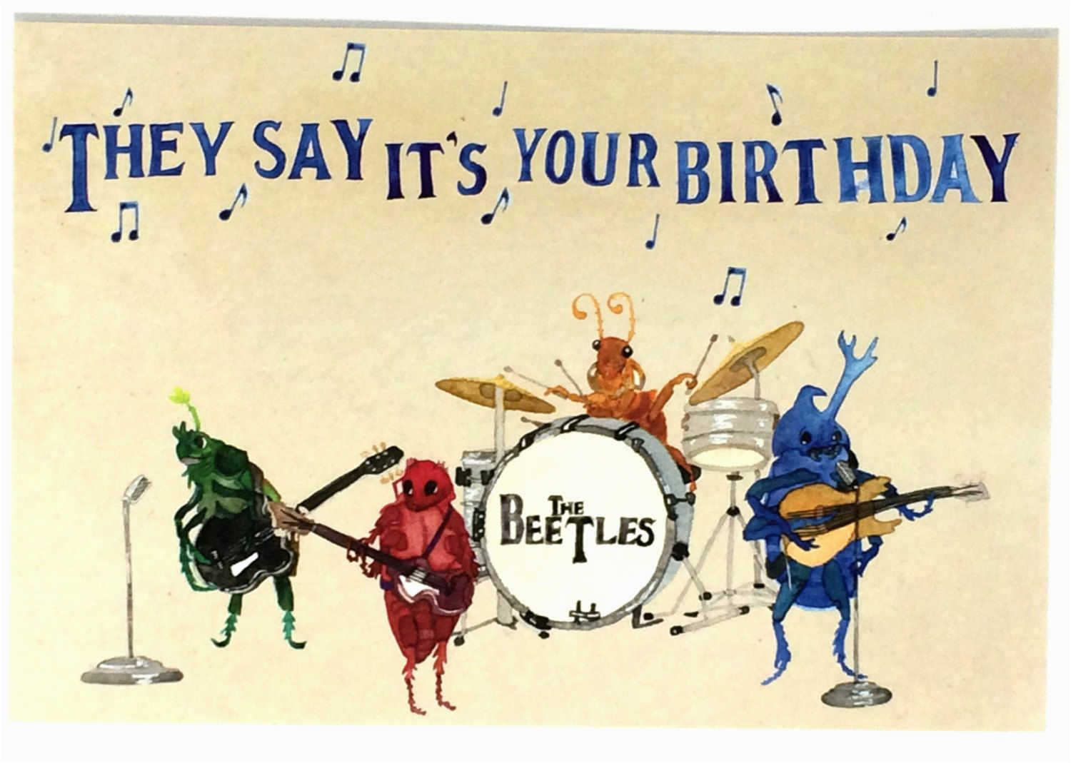 Musical Birthday Cards For Facebook Pack Of 10 Funny Beatles Happy Postcards Ten