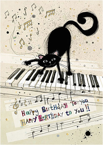 Musical Birthday Greeting Cards For Facebook Black Cat Piano
