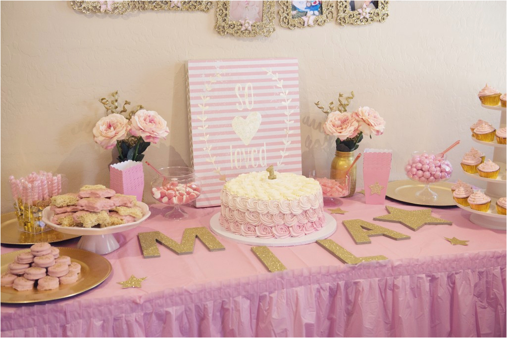 miss milas first birthday party pink gold twinkle twinkle little star theme