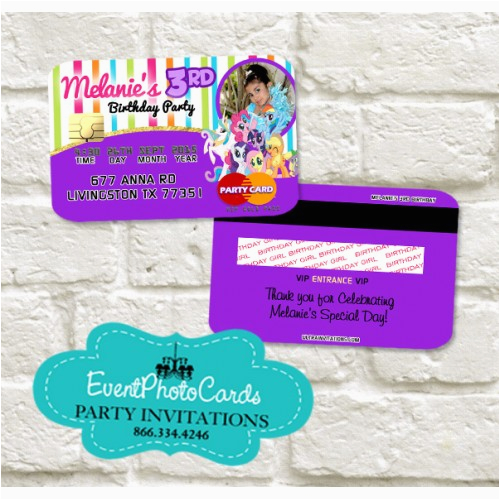 My Little Pony Personalized Birthday Invitations Credit Card