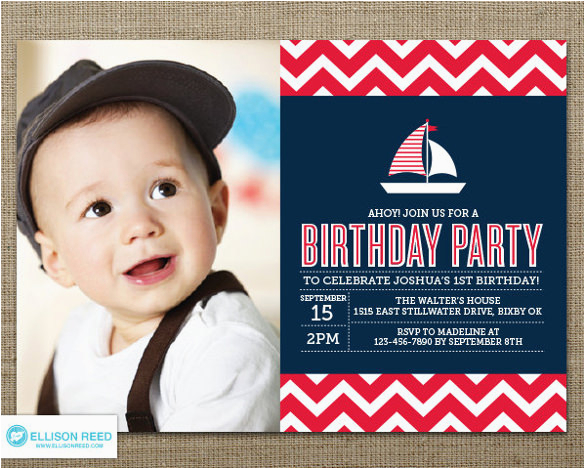 Nautical Birthday Invites 30 First Invitations Free Psd Vector Eps Ai