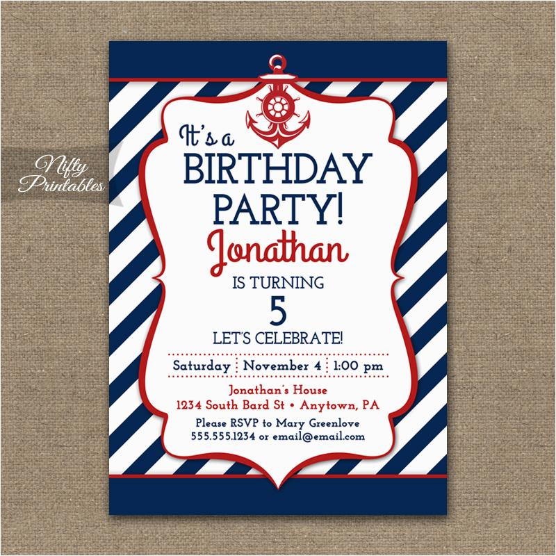 red white blue nautical birthday invitations