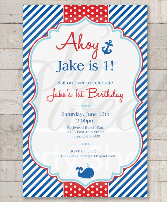 Nautical themed First Birthday Invitations Nautical 1st Birthday Invitations Boys 1st Birthday