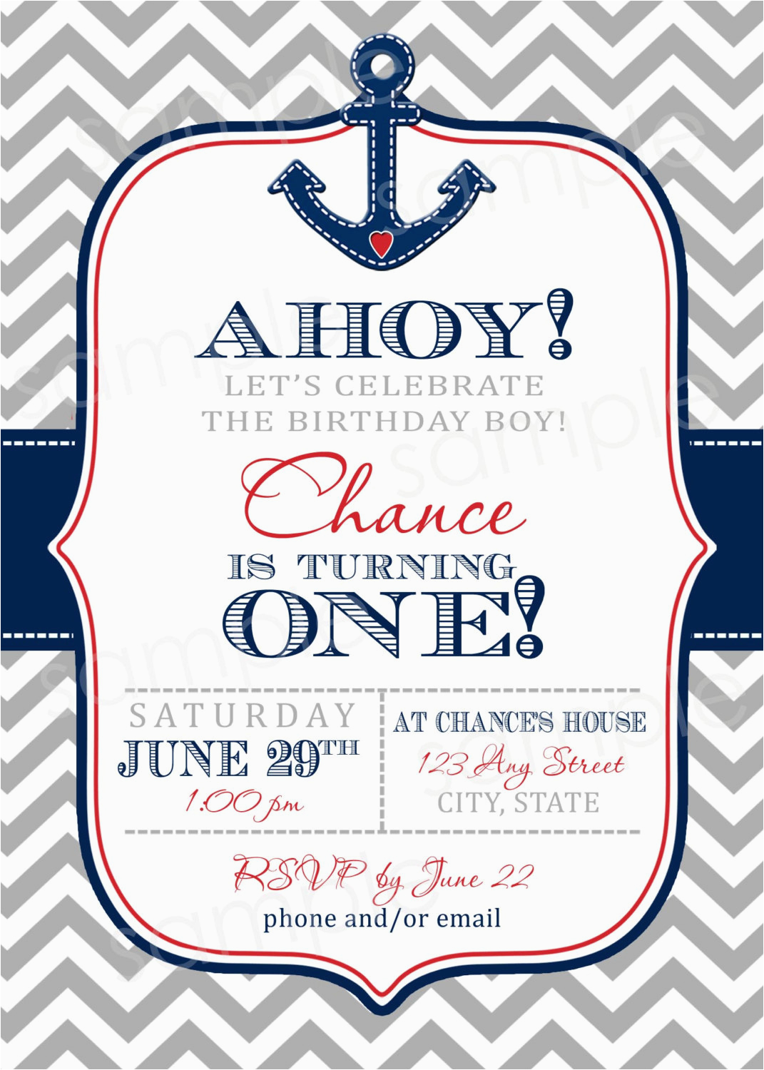 Nautical themed First Birthday Invitations Nautical Birthday Invitation Templates