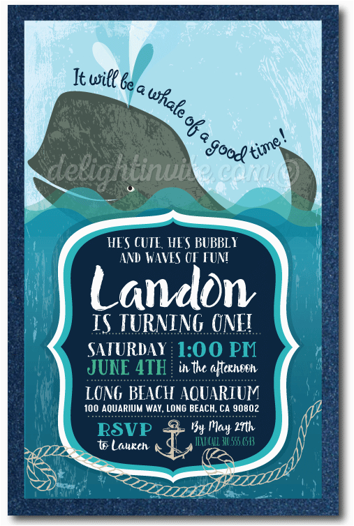 Nautical themed First Birthday Invitations Nautical Whale 1st Birthday Invitations Di 369