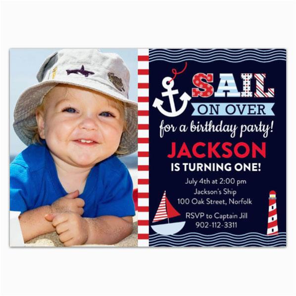 Nautical themed First Birthday Invitations Sail Away Nautical Birthday Invitations Paperstyle
