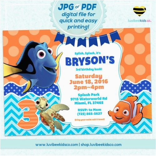Nemo Birthday Party Invitations Finding Nemo Birthday Invitation