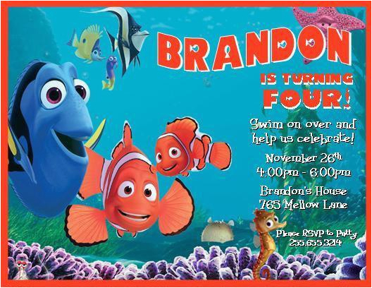 finding nemo personalized birthday invitations printable digital file many styles available