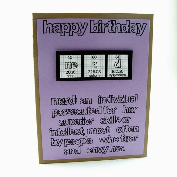 nerd birthday card purple girl
