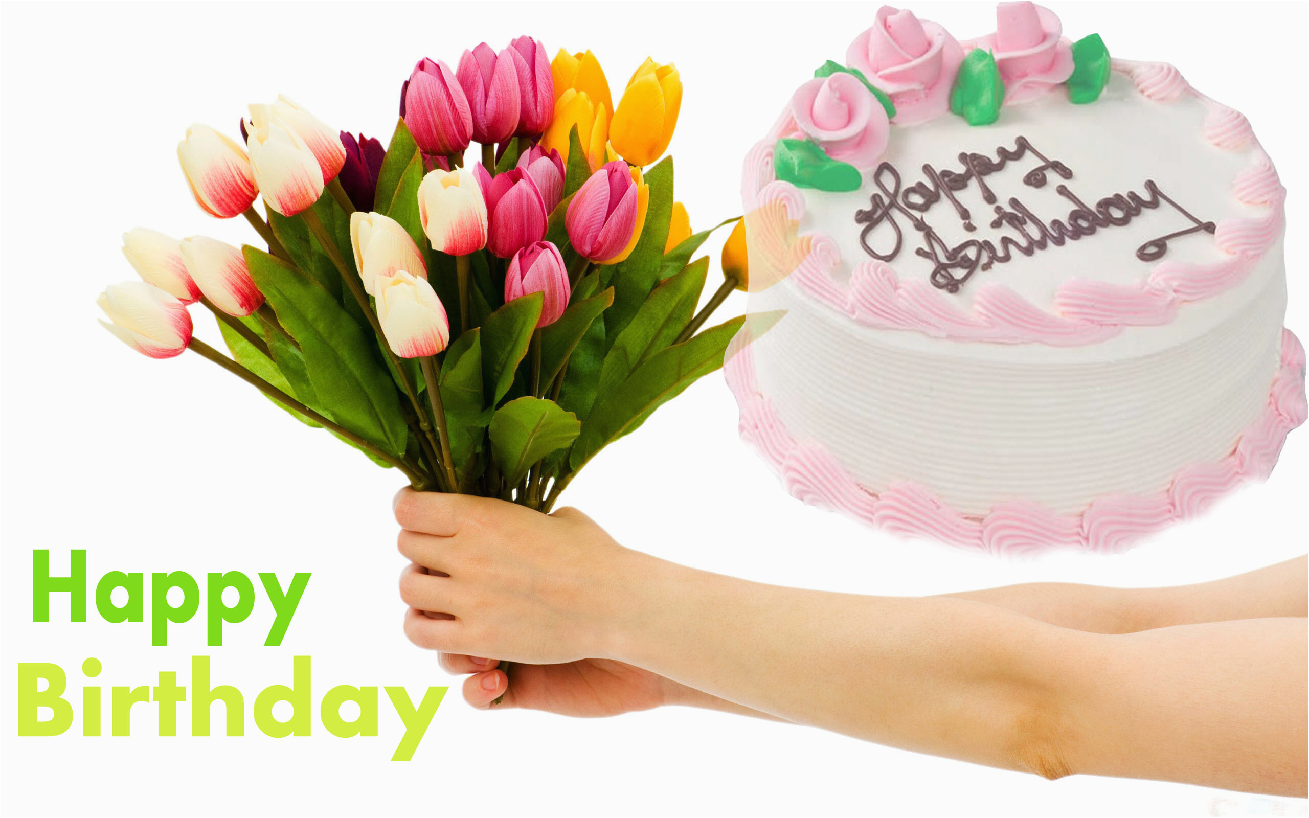 birthday flowers and cake with nice quote hd images hd