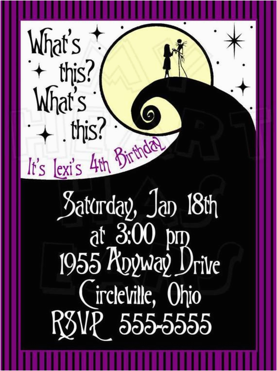 Nightmare before Christmas Birthday Invitation Template Diy Nightmare before Christmas with Jack Sally Birthday