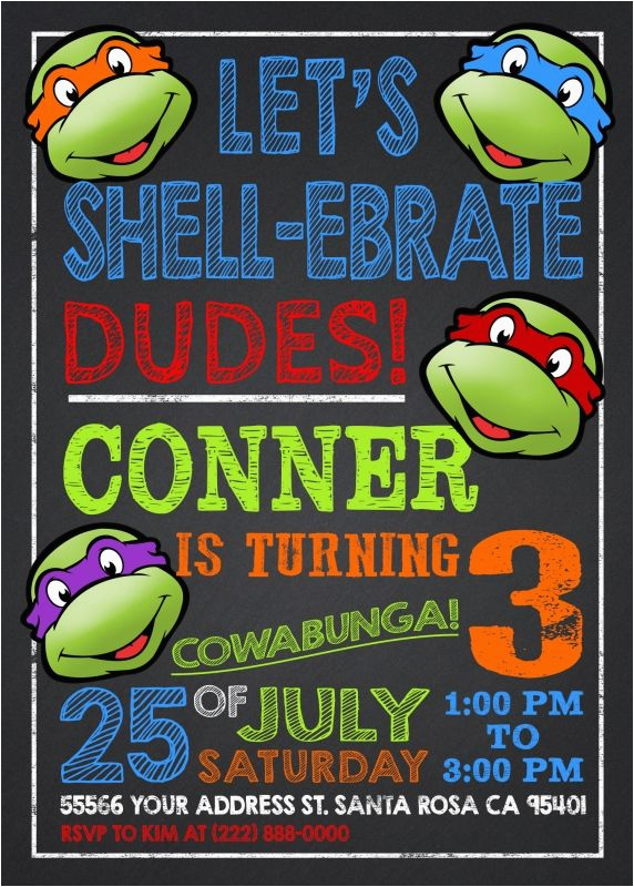 Ninja Turtle Birthday Invites Party Invitation Templates Invitations