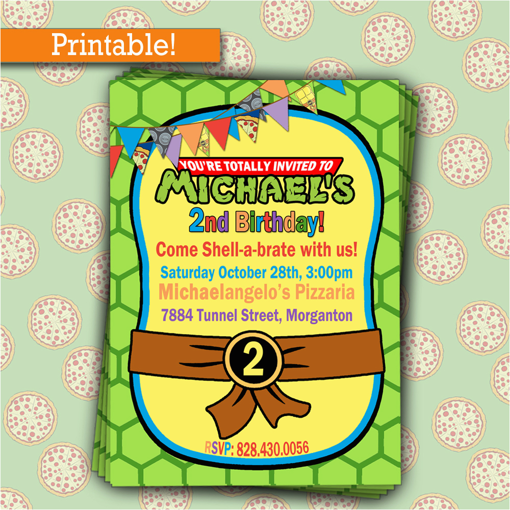 personalize teenage mutant ninja turtles tmnt photo birthday party invitation