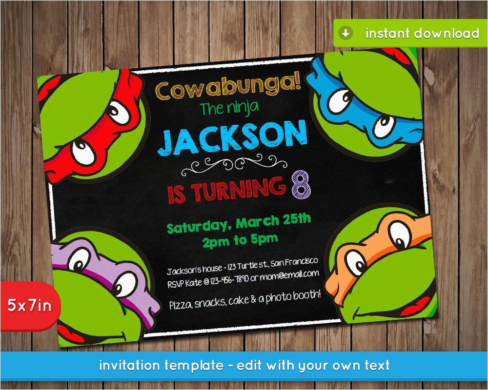 Ninja Turtles Birthday Invites Teenage Mutant Invitation Tmnt Printable