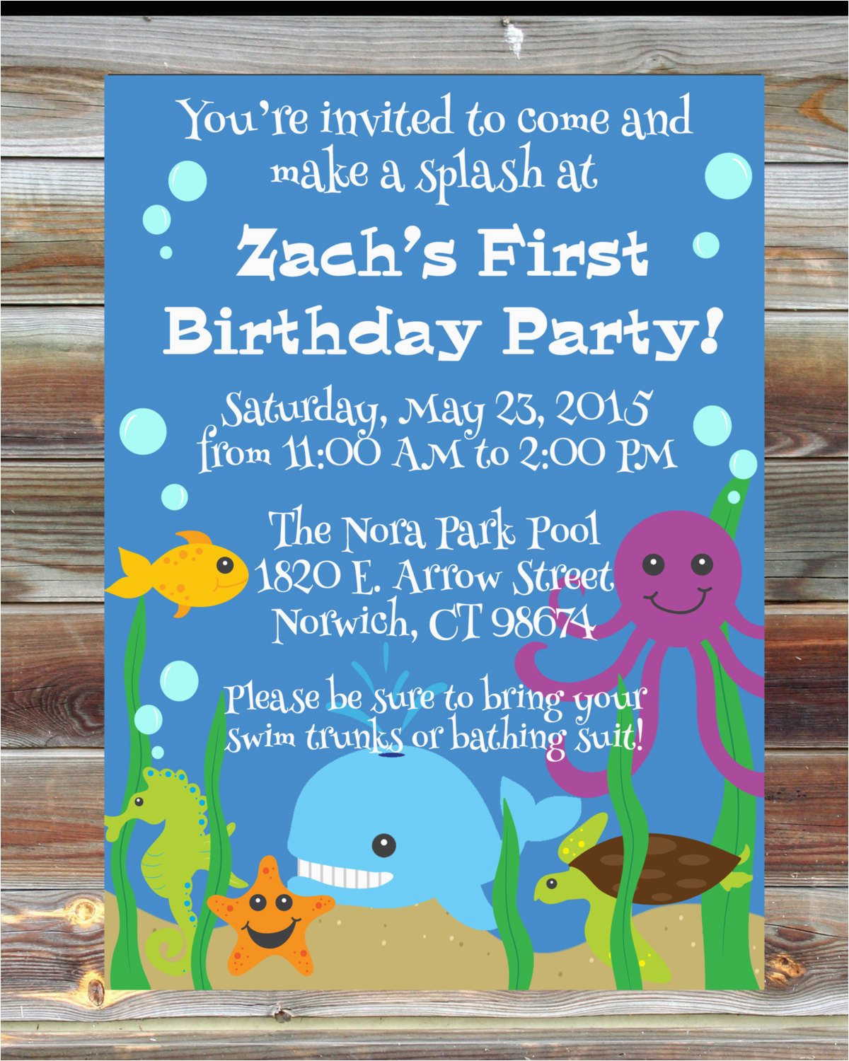 Ocean themed Birthday Invitations Ocean theme First Birthday Invitation 1st 2nd 3rd Birthday