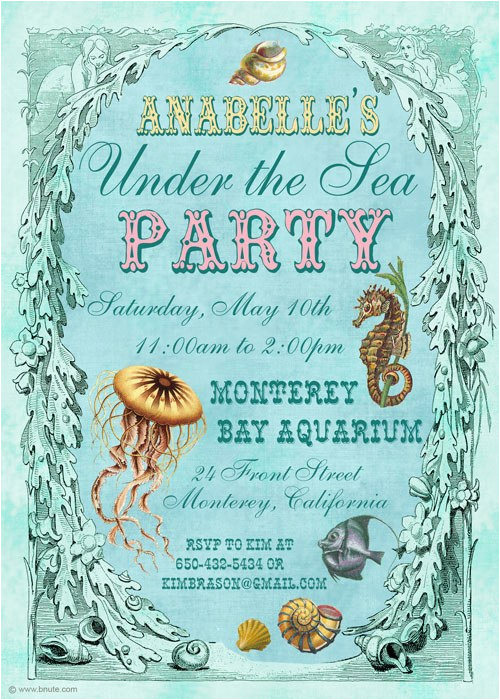 Ocean themed Birthday Invitations Under the Sea Birthday Party Invitations Eysachsephoto Com