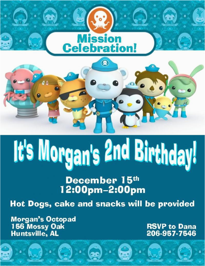 12 printed octonauts birthday invitations with envelopes four styles available