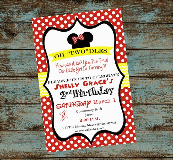 Oh Toodles Birthday Invitations Minnie Mouse 2nd Party Invitation