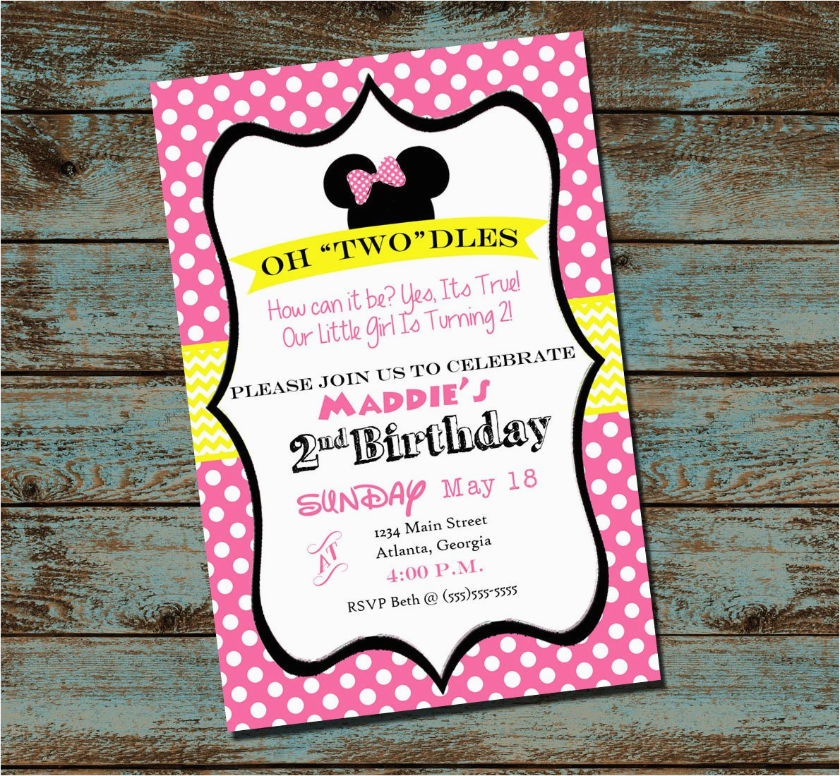 Oh Toodles Birthday Invitations Minnie Mouse 2nd Party Invitation Pink