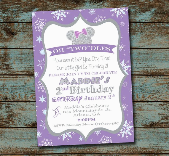 Oh Toodles Birthday Invitations Minnie Mouse 2nd Party Invitation Winter