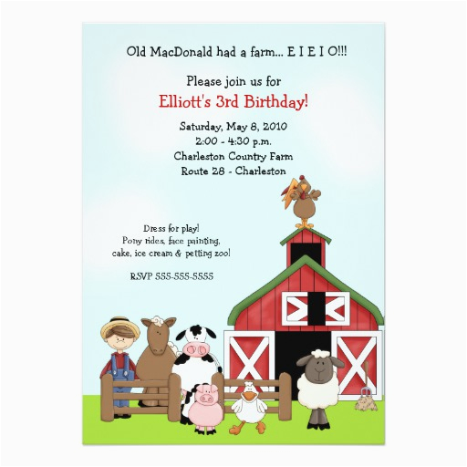 old macdonald eieio farm barnyard birthday invite 161670174034418123