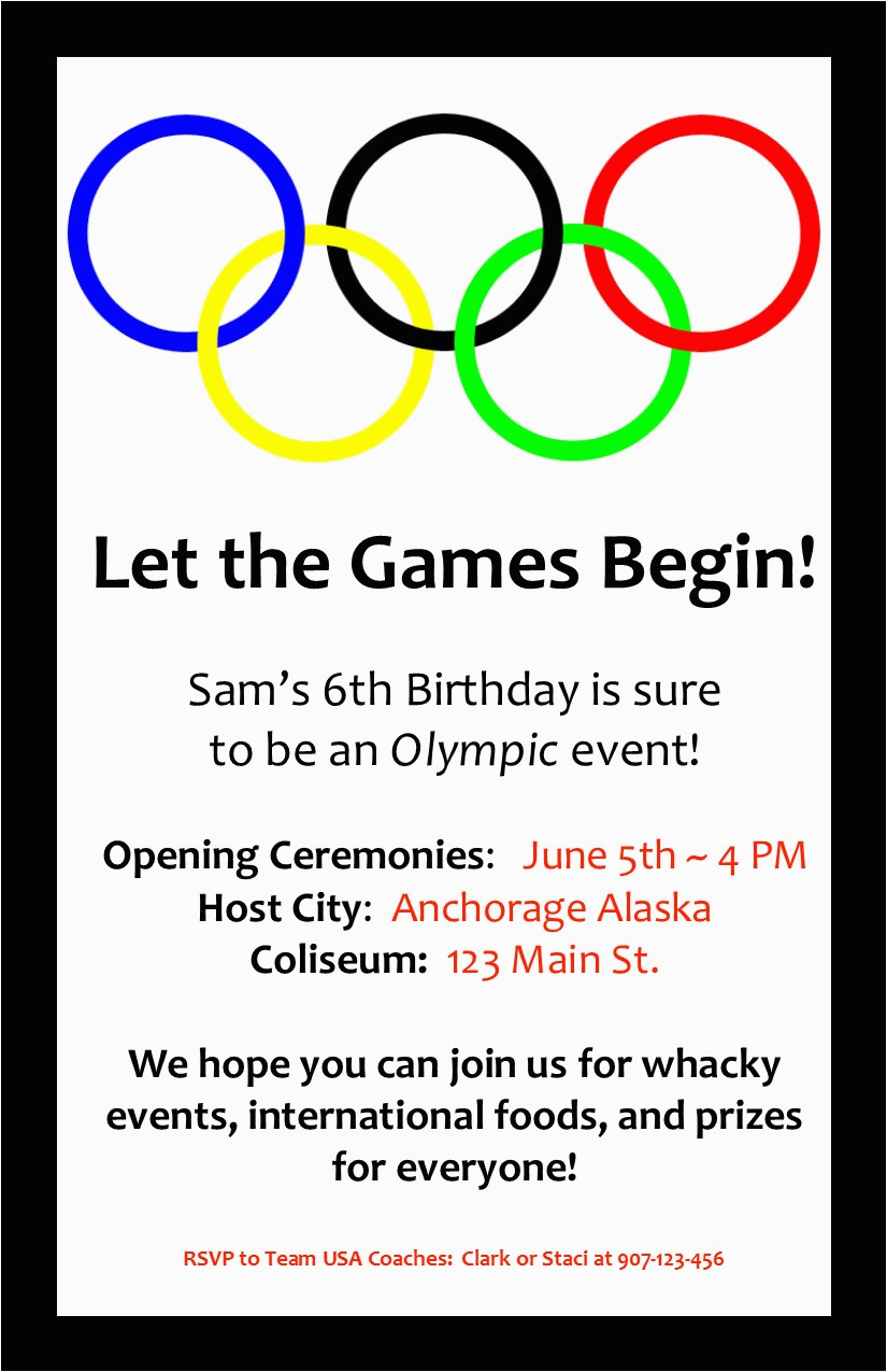 Olympic Birthday Party Invitations An Olympic Birthday Party Profoundly ordinary