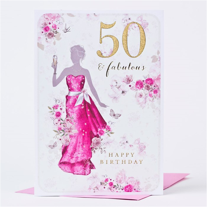 Online 50th Birthday Cards 50th Birthday Card Fifty Fabulous Only 99p