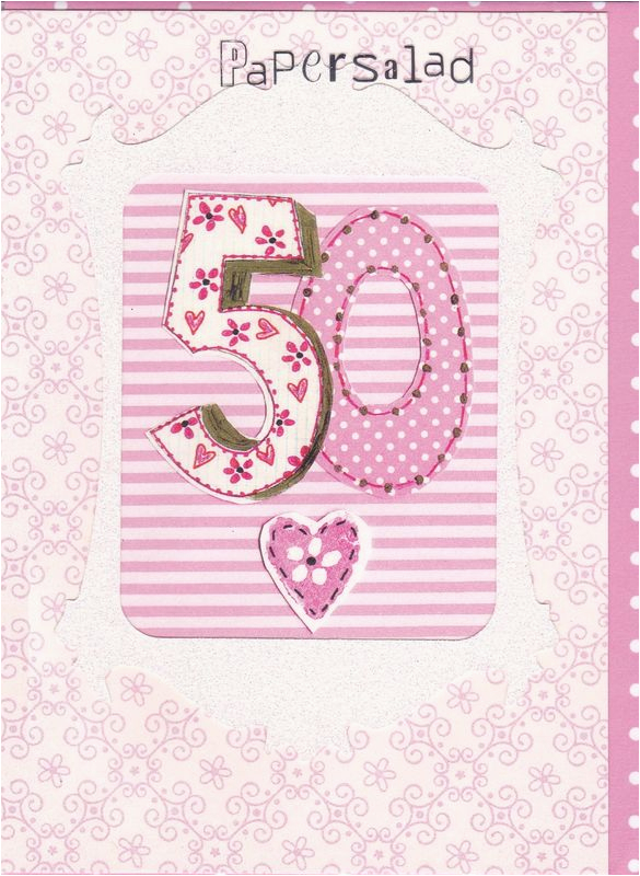 Online 50th Birthday Cards Pink Card Karenza Paperie