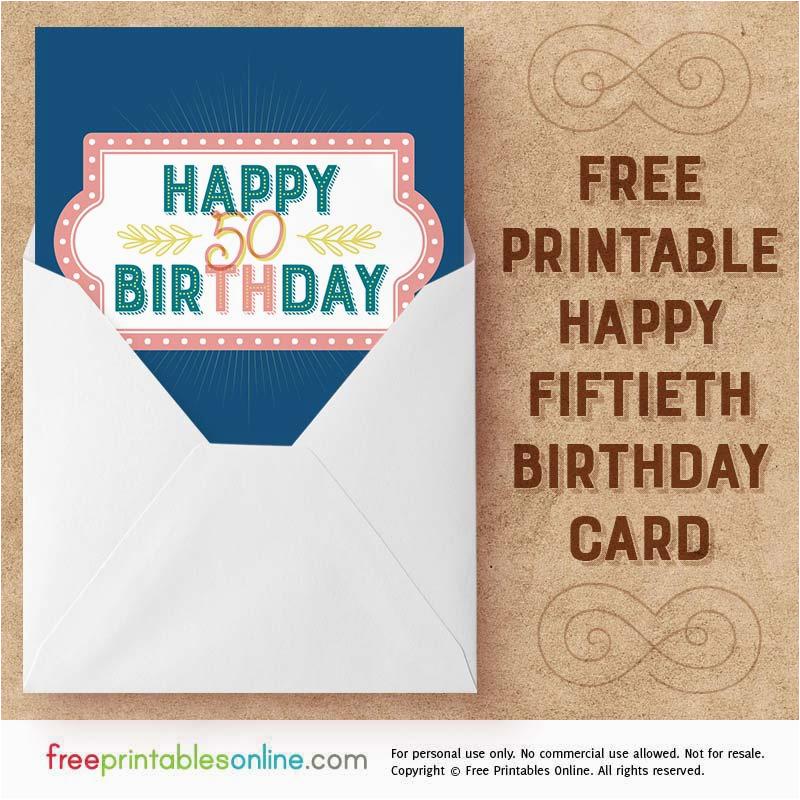 salmon navy printable happy 50th birthday card