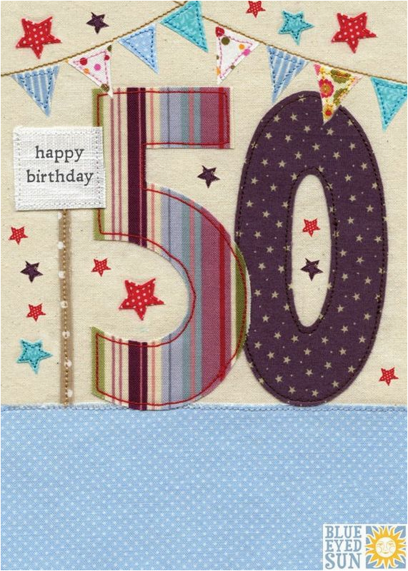 Online 50th Birthday Cards Stars Bunting Card Karenza Paperie