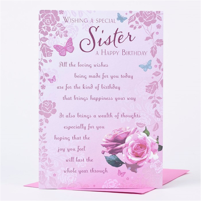 Online Birthday Cards for Sister Birthday Card Sister Pink Rose Only 89p